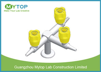 Three Way Brass Lab Gas Taps Laboratory Fittings For Chemical Lab Bench