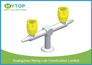 Double Way Laboratory Fittings Chemistry Lab Gas Taps Valve Brass Material